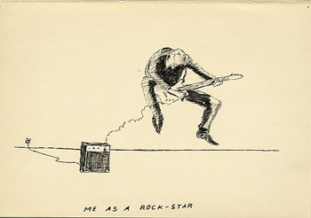 Geert Dekkers - a drawing a day at nznl.com - ME AS A ROCK STAR drawing
