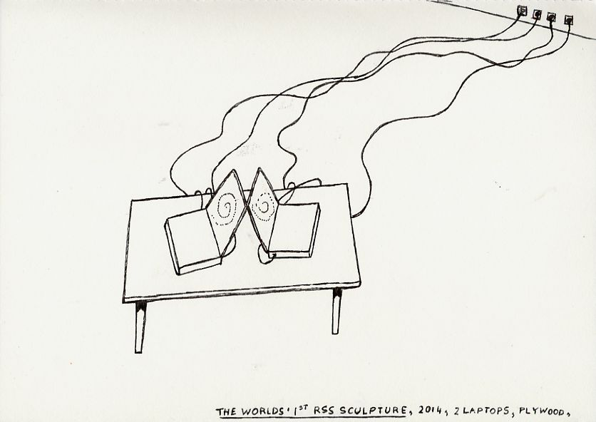 Geert Dekkers - a drawing a day at nznl.com - THE WORLDS 1ST RSS SCULPTURE, 2014, 2 LAPTOPS, PLYWOOD
